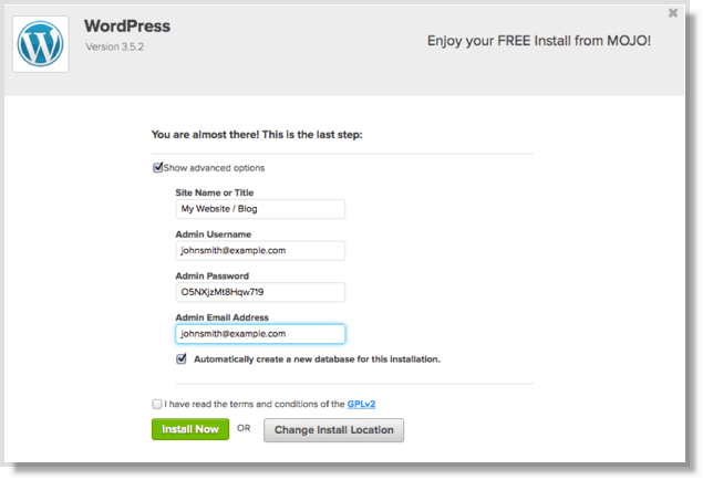 Bluehost final step to install is quick and painless